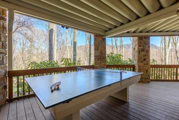Outdoor Ping Pong Table on Covered Lower Rear Deck!