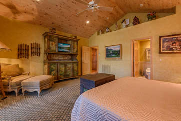 King Bedroom Suite with Comfy Chair & Ottoman and Ensuite Full Bathroom