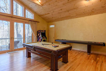 Pool Table, Shuffleboard Table, and Arcade Game in Den and Game Room of Guest Cottage