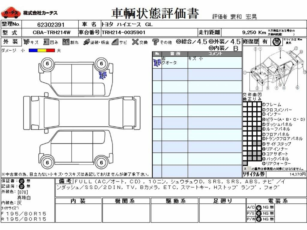Used 2014 AT Toyota Hiace Van CBA-TRH214W Image[3]