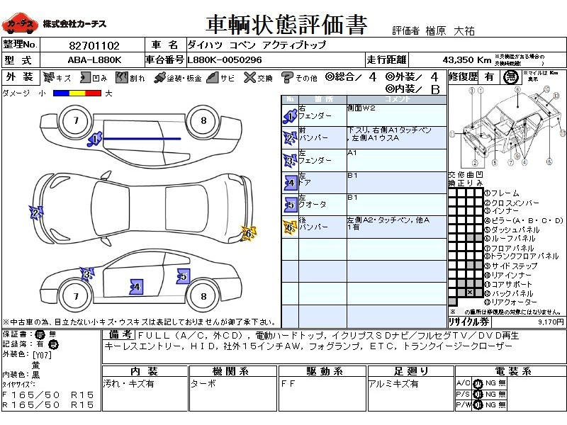 Used 2009 MT Daihatsu Copen ABA-L880K Image[3]