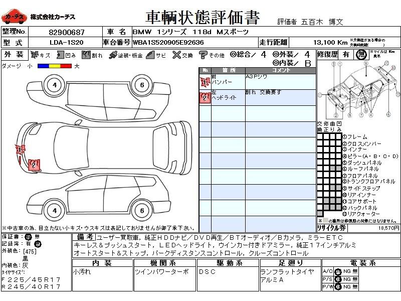 Used 2016 AT BMW 1 Series LDA-1S20 Image[3]