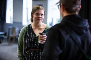Admissions Staff Talking to Student over Coffee