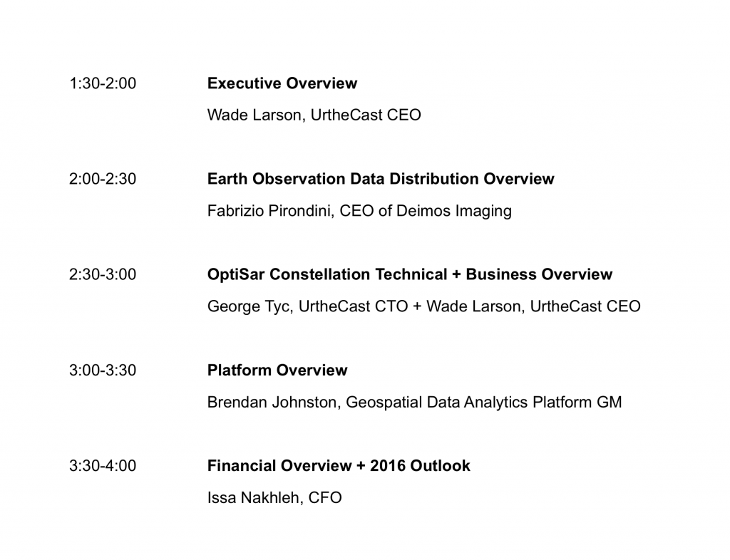 Capital Markets Day Agenda