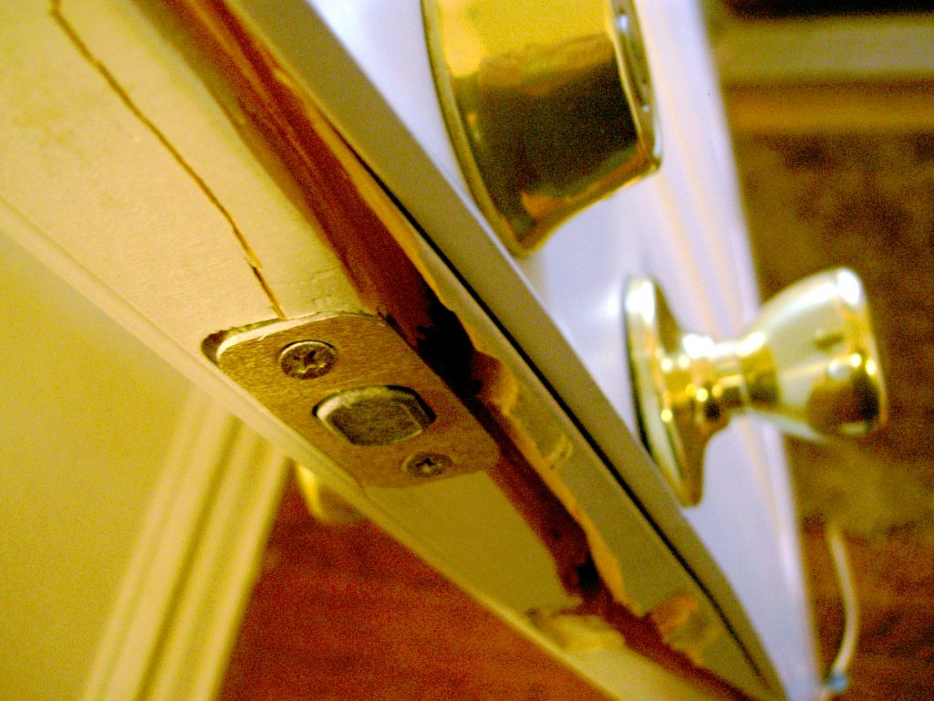 door kicked in - home security door