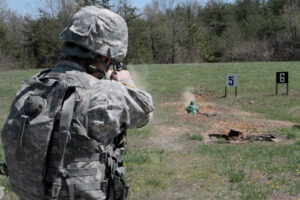 387th MP Company, soldier fires on M9 range
