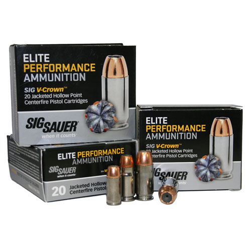 Sig Sauer Elite V-Crown Ammunition 38 Special +P, 125 Grains, Jacketed Hollow Point