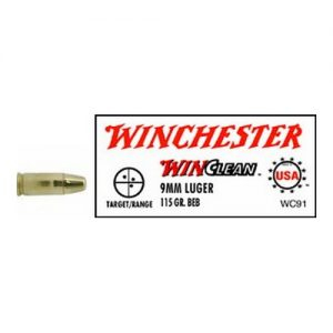 Winchester Ammo 9mm Luger 115gr, WinClean Brass Enclosed Base