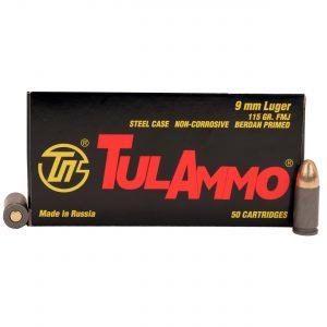 Tulammo 9mm 115gr FMJ Steel Case 50