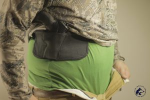 Here you see how the Brave Response Holster can be lifted up higher on the torso when sitting down.