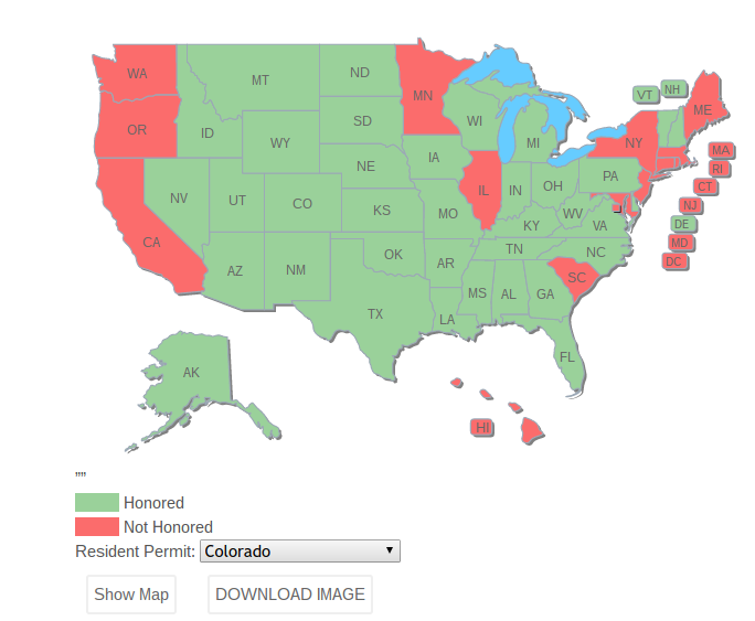 Concealed Carry Permit Reciprocity Map Builder USA Firearm Training 2