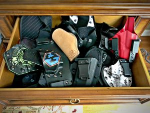 drawer full of holsters