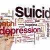 Suicide concept word cloud background