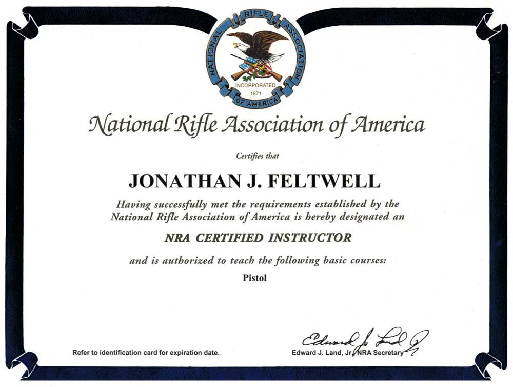 NRA Certificate Jon Feltwell instructor