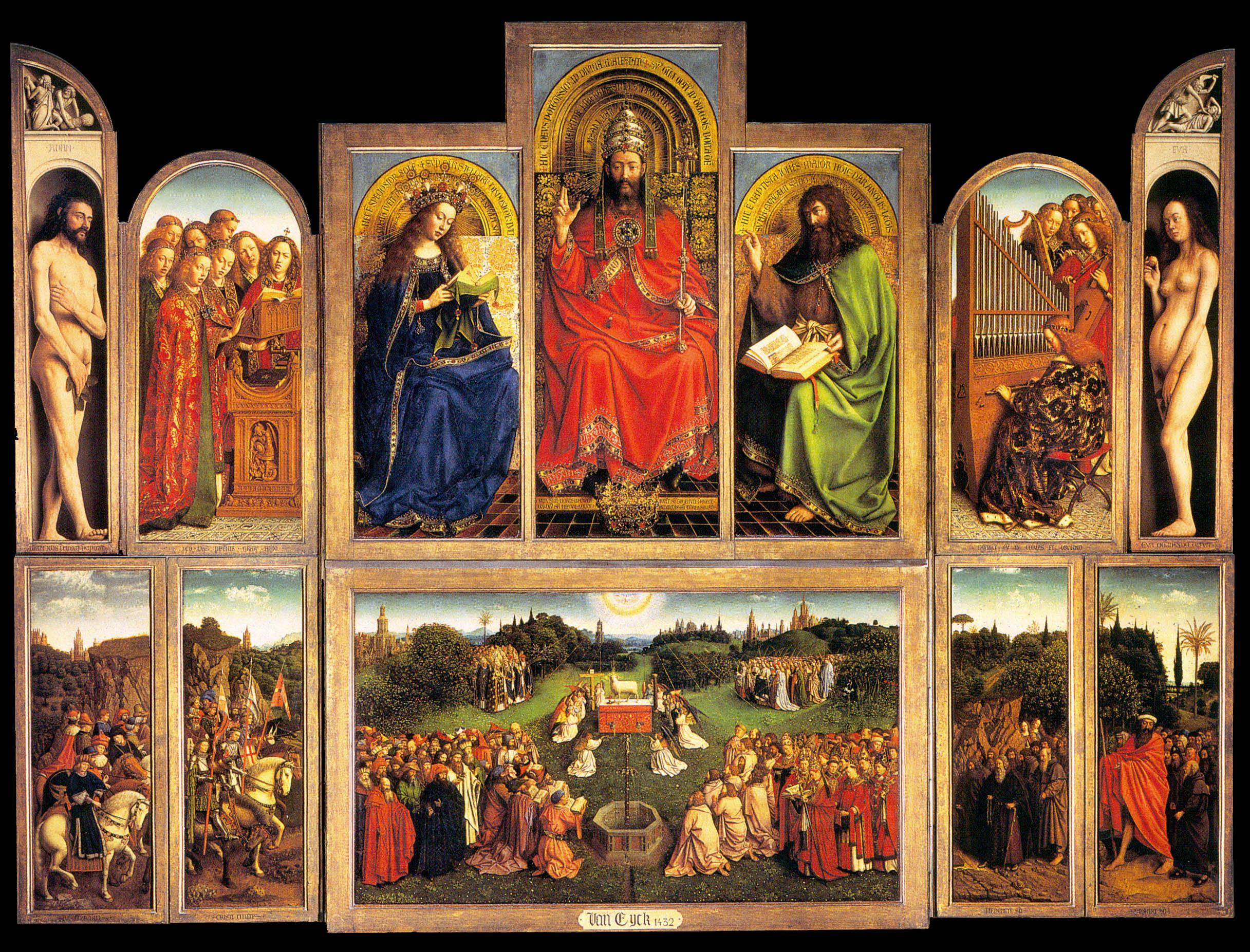 Van eyck, Ghent Altarpiece (open), 1432, 11.5' x 14.5'