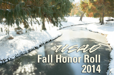 A photo of the university's meandering stream with the text USAO Honor Roll Fall 2015 superimposed on it