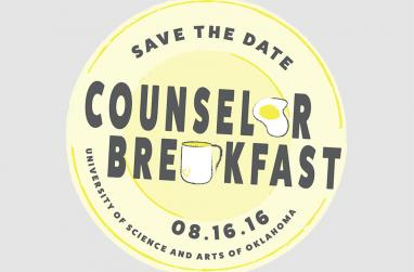 Graphic for the 2016 counselor breakfast to be held August 16 in the USAO Ballroom.