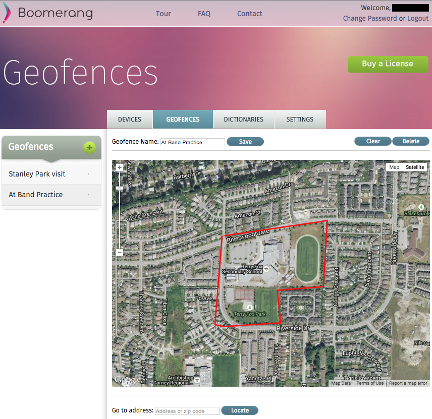 Geofence selection