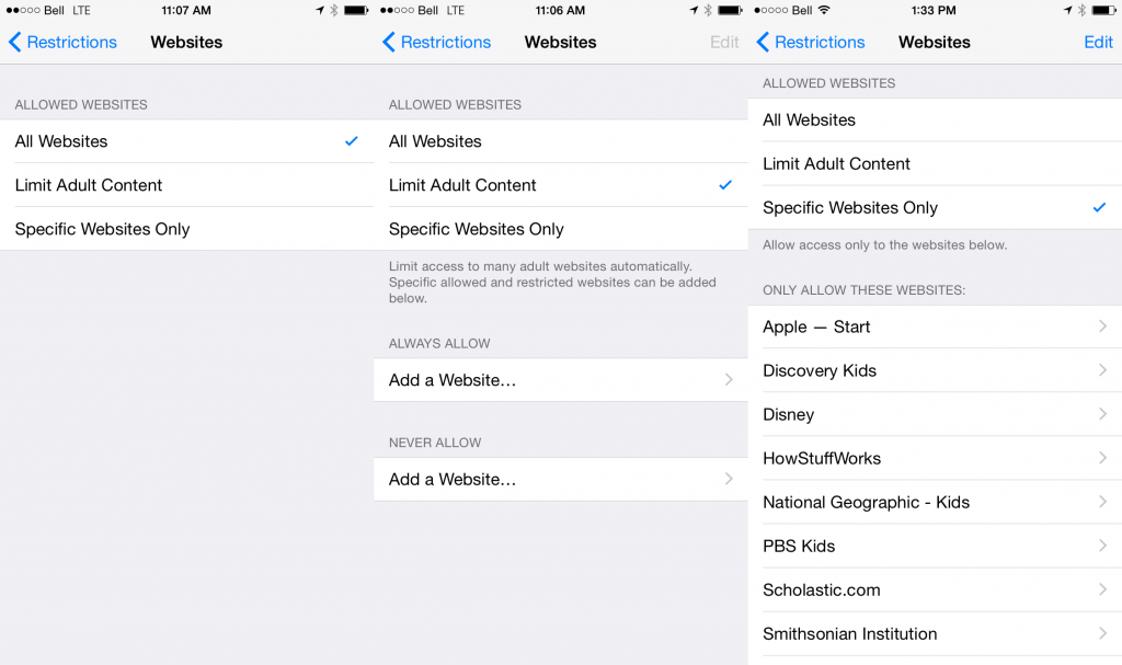 iOS Website Restrictions Settings