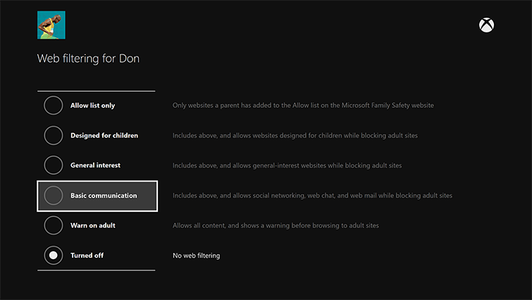Xbox One Web filtering