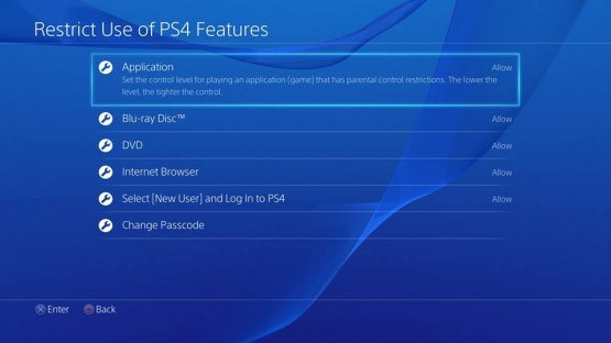 Options for PS4 restrictions