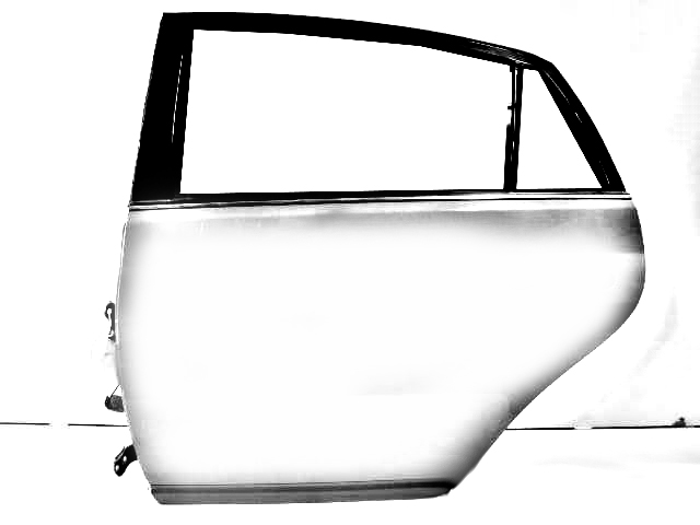 SILVER PASSENGER REAR DOOR W/HINGES