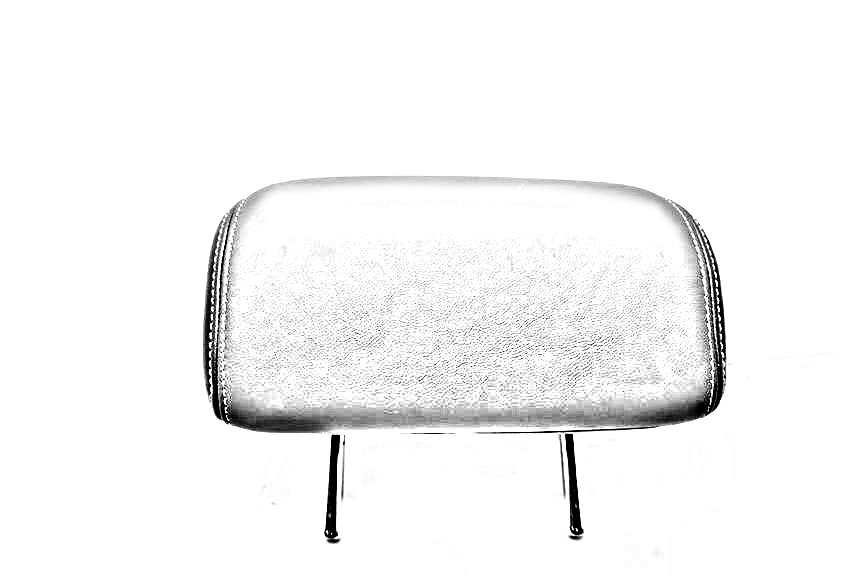 BLACK REAR OUTER HEADREST LEATHER