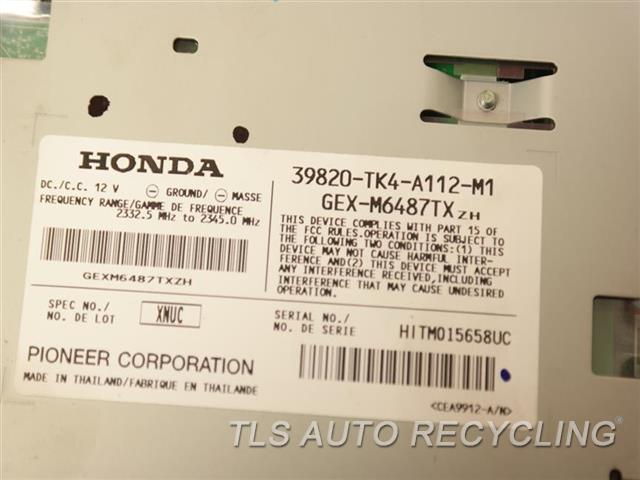 2009 Acura Tl Radio Audio / Amp 39820-TK4-A112 SATELLITE XM RADIO MODULE