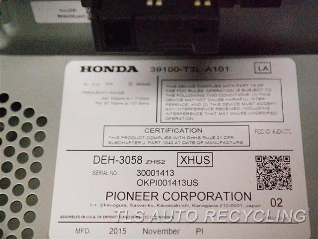 2016 Honda Accord Radio Audio / Amp  (US MARKET), RECEIVER AND FACE PANE