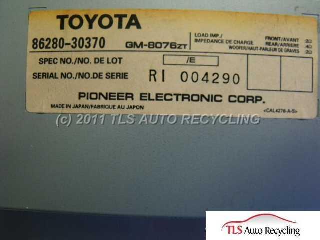 1998 Lexus Gs 300 Radio Audio / Amp  86280-30370 PIONEER AMP