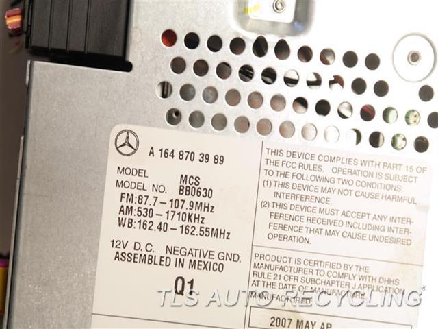 2008 Mercedes Gl320 Radio Audio / Amp  DISPLAY,RADIO RECEIVER 1648703989