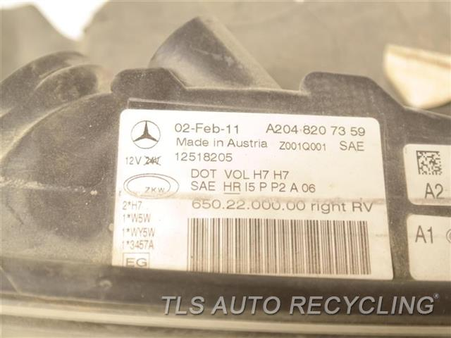 2011 Mercedes Glk350 Headlamp Assembly  RH,204 TYPE, (GLK350), HALOGEN, R.