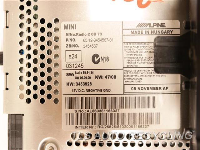 2009 Mini Cooper Clubman Radio Audio / Amp  RADIO / CD PLAYER 65123455540