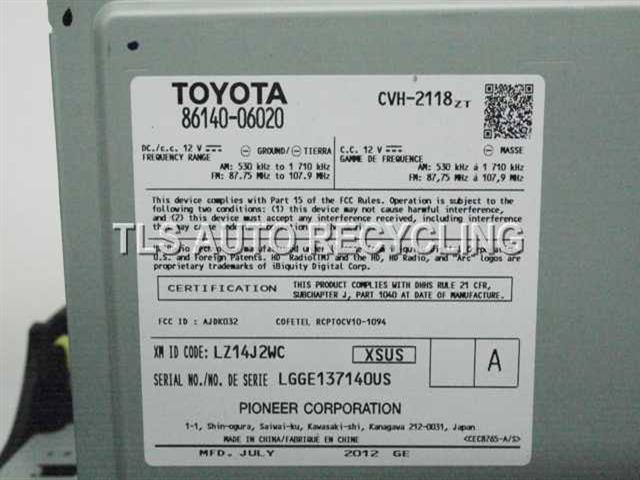 2012 Toyota Camry radio audio / amp - 86140-06021 ON THE ITEM 86140