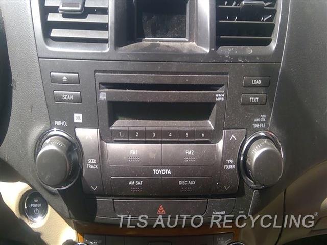 2009 Toyota Highlander Radio Audio / Amp  RECEIVER, ID 51855 ON RADIO FACE