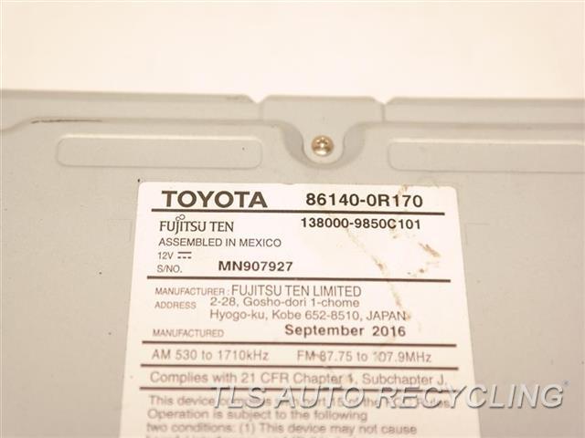 2017 Toyota Rav 4 Radio Audio / Amp 86140-0R170 DISPLAY AND RECEIVER, ID 100581