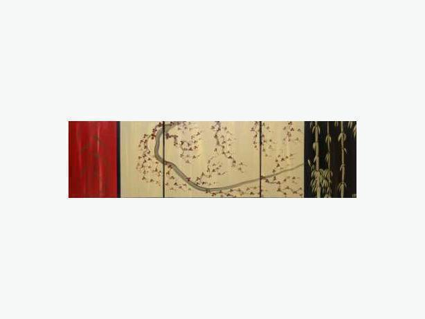 Beautiful Cherry Blossom and Bamboo Painting Original Art!