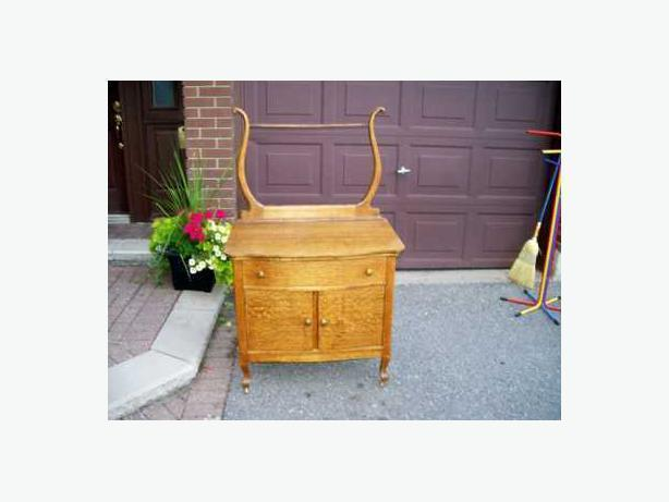 Antique Oak Washstand with Rack