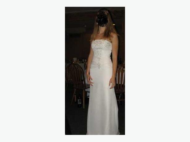 Stunningly Beaded Strapless Wedding Dress - size 6