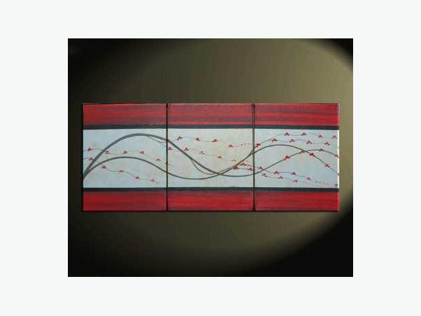 Original Elegant Red and Silver Painting Directly from Artist! Calming happy Art