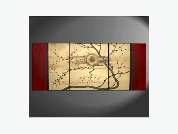 Beautiful Bold Red Cherry Blossom Painting Original Art Stylish Calming Unique!
