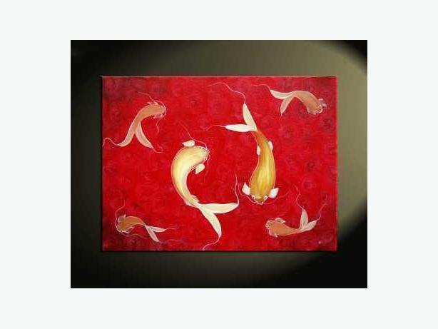 Koi Fish Family Painting Original Red Art Asian Zen Style Calm