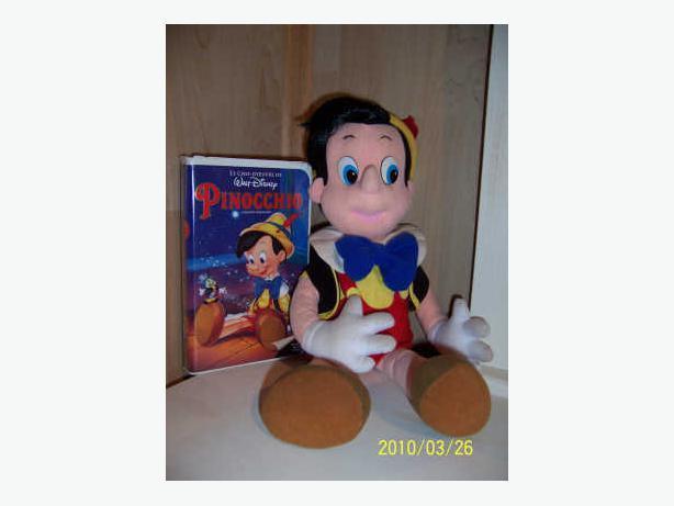 CASSELMAN - Pinnochio Plush + Cassettes VHS de Disney -