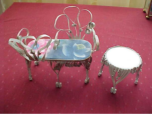 TINWARE TWO SIDED CHAIR AND TABLE