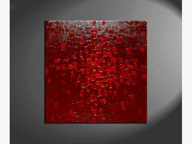 Knife Painting Modern Abstract Art Red and Burgundy Rich Zen