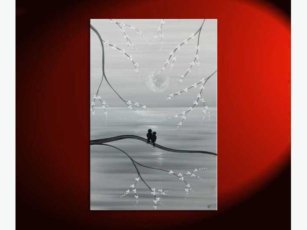 Peaceful Bird and Cherry Blossom Painting Original Art