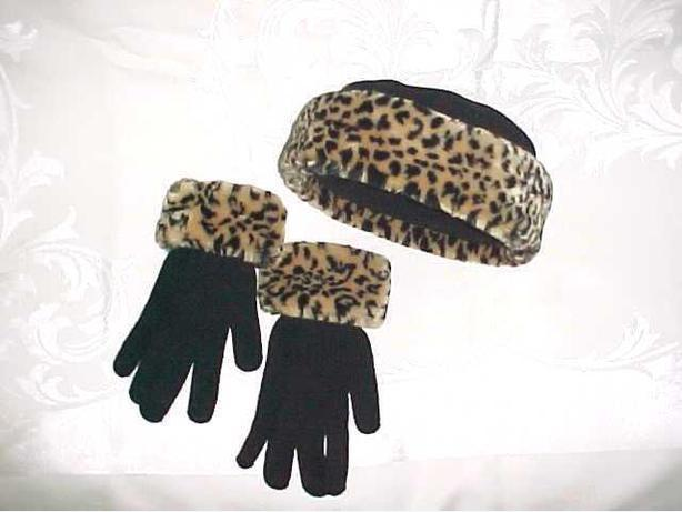 LEOPARD TRIM HAT AND GLOVES