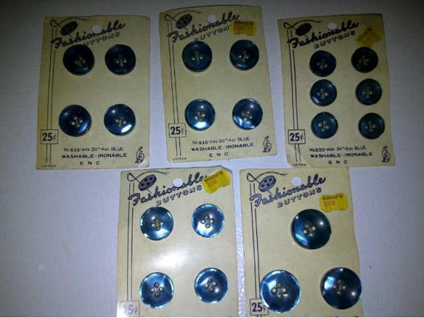 Antique buttons:  21 blue buttons on 5 cards