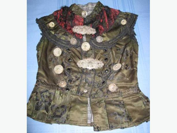 Slovak, Austro Hungarian Ladies Vest with Glass and Silver Buttons and Brooches.
