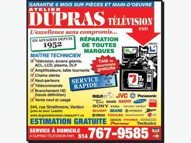Montreal Tv service and Repair Center Dupras Television LCD PLASMA